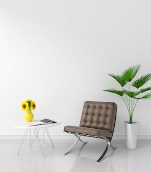 Brown-stuhl im weißen raum für modell