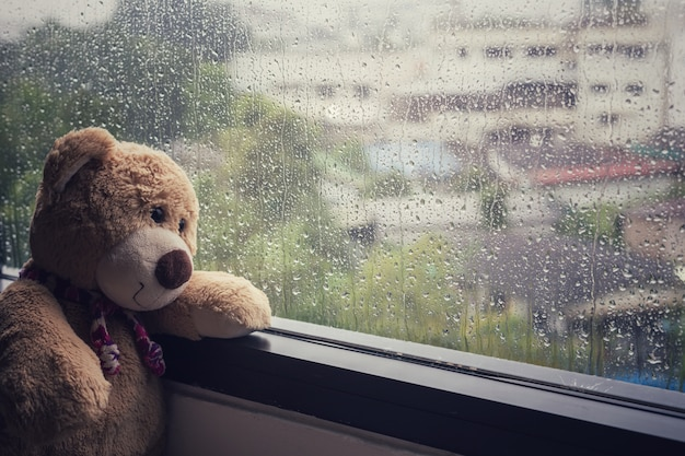 Brown-teddybär, der neben dem fenster beim regnen sitzt