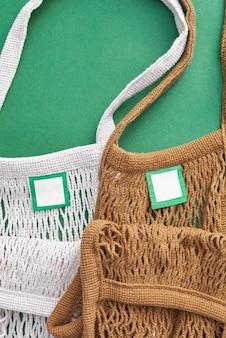 Brown und weiße farbe mesh eco taschen
