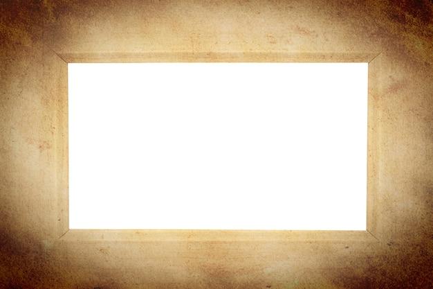 Brown-weinleserahmen lokalisiert gegen weißen hintergrund.