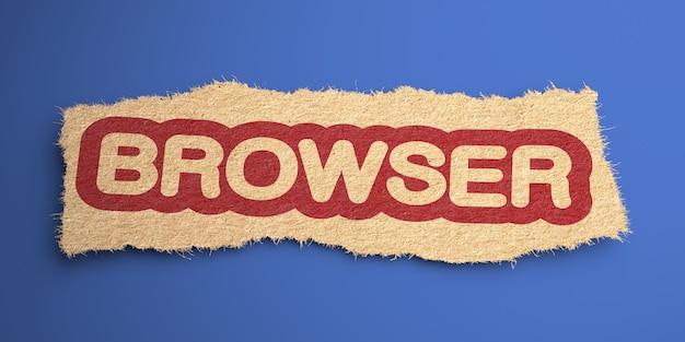 Browser-wort aus grobem papier, rot eingekreist. internet-konzept. 3d-rendering.