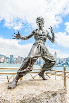 Bruce lee-statue an der avenue of stars