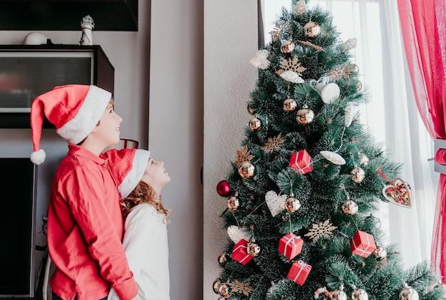 Bruder und schwester schmücken weihnachtsbaum zu hause