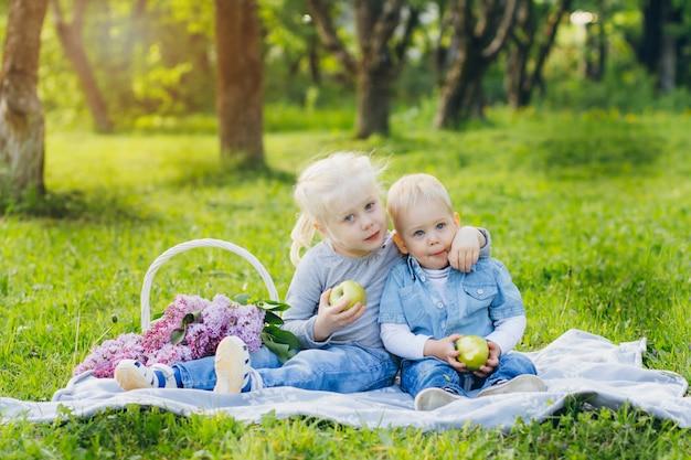 Bruder und schwester sitzen auf sommerwiese