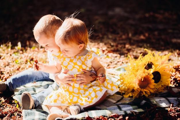 Bruder und schwester spielen auf der decke im sonnigen park
