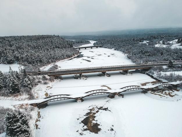 Brücke mit schnee im wald bedeckt