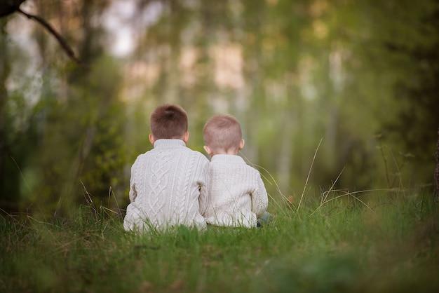 Brüder sitzen im wald und umarmen sich