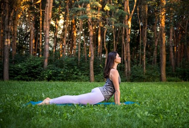 Brünettes mädchen führt die asana urdhva mukha von svanasana auf der natur bei sonnenuntergang durch