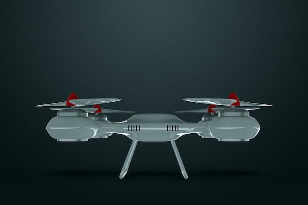 Brummen, weißes quadrocopter auf einem dunklen hintergrund mit kopienraum