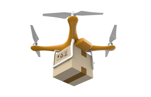 Brummenfliegen mit einem lieferungskastenpaket im weiß