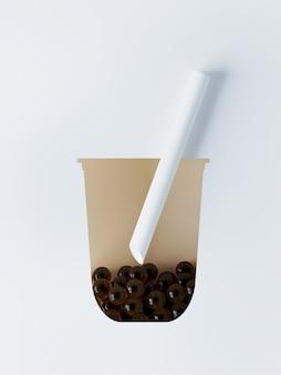 Bubble tea-unterlage mit papierschnittform aus glas