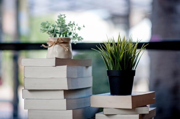 Buch auf den schreibtisch gelegt viele bücher