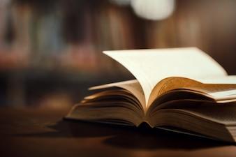 Buch in Bibliothek mit offenem Lehrbuch