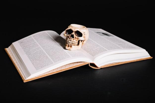Buch mit zauberspruch und schädel