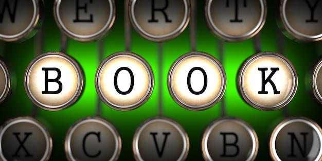 Buch über alte schreibmaschinenschlüssel auf grün.