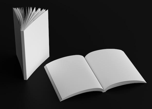 Buchcover und geöffnete albumverbreitungsmodellszene
