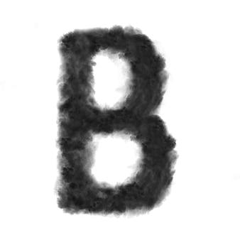 Buchstabe b aus schwarzen wolken oder rauch.