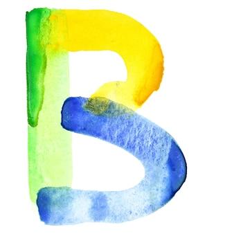 Buchstabe b - lebendiges aquarell-alphabet. farben ähneln der flagge brasiliens