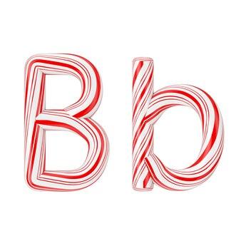 Buchstabe b mint candy cane alphabet collection gestreift in roter weihnachtsfarbe auf weißem hintergrund. 3d-rendering