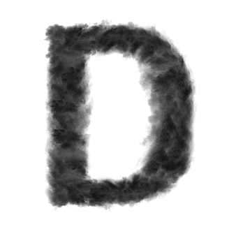 Buchstabe d aus schwarzen wolken oder rauch auf einem weißen mit kopierraum, nicht rendern.