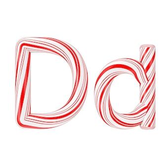 Buchstabe d mint candy cane alphabet collection gestreift in roter weihnachtsfarbe auf weißem hintergrund. 3d-rendering