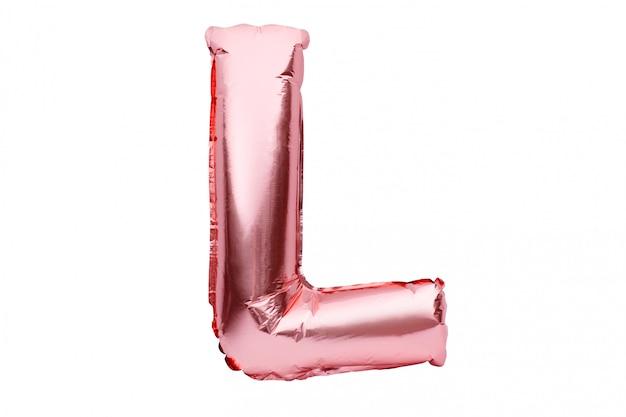 Buchstabe l aus roségoldenem aufblasbarem heliumballon, isoliert auf weiß. goldrosa folienballonschriftteil des vollständigen alphabetsatzes der großbuchstaben.