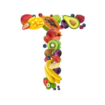 Buchstabe t aus verschiedenen früchten und beeren