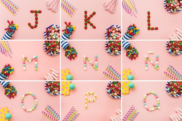 Buchstaben des alphabets und süßigkeiten
