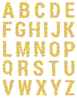 Buchstaben des englischen alphabets bestehend aus narzissen, gerbera und gänseblümchen