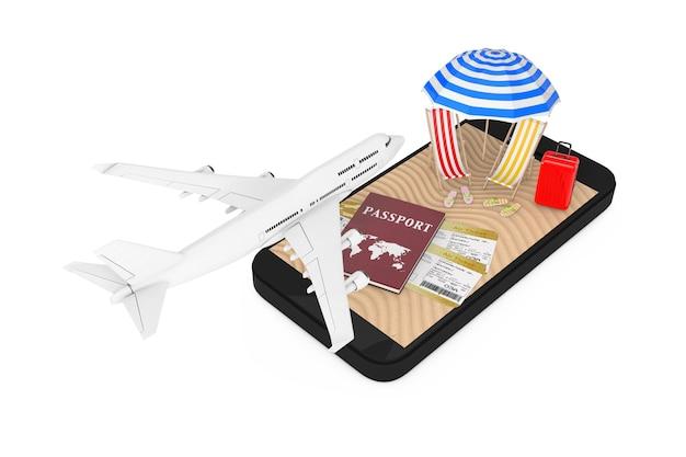 Buchung von online-tickets-konzept. white jet passagierflugzeug fliegt über handy mit reisepass, tickets und sand tropical beach auf weißem hintergrund. 3d-rendering