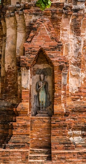 Buddha, eine schöne alte stätte in wat maha that ayutthaya als welterbestätte, thailand