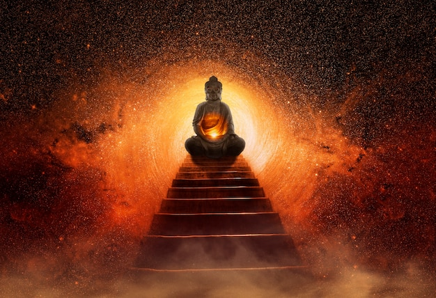 Buddha-statue am ende der treppe
