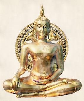 Buddha-statue im öffentlichen tempel von thailand. aquarell-stil.