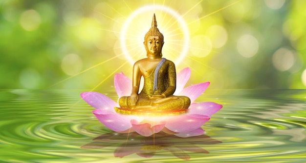 Buddha-statue-wasserlotus-buddha, der auf lotusblume auf orange hintergrund steht