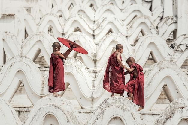 Buddhistischer anfänger im tempel, myanmar