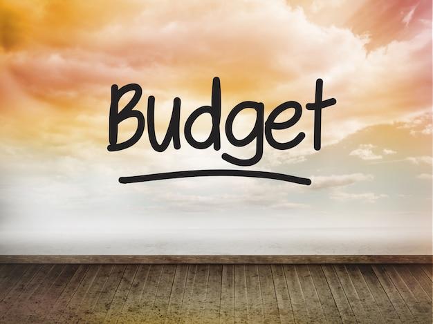 Budget geschrieben an der wand mit himmel