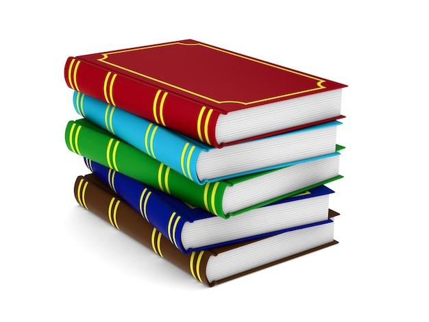 Bücher auf weißem hintergrund. isolierte 3d-darstellung