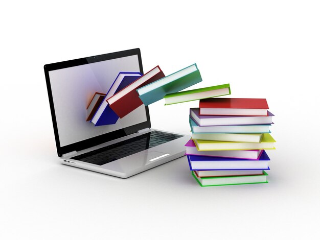 Bücher fliegen in ihren laptop