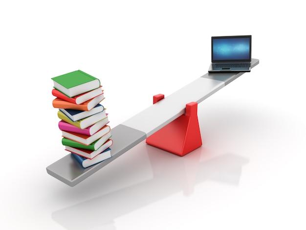 Bücher und computer laptop balancing auf einer wippe