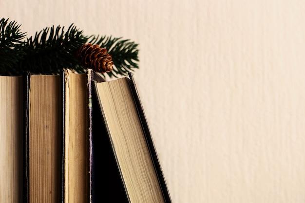 Bücher und weihnachtsbaum mit kegeln auf dem alten hölzernen regal.