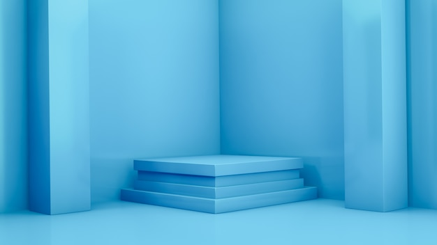 Bühne mit blauen geometrischen formen