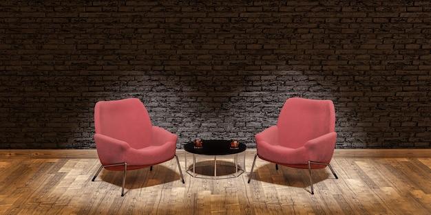 Bühne mit zwei sofas und zentralem tisch, beleuchtet von scheinwerfern im konzept der debatte, des gesprächs oder des interviews