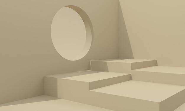 Bühnen- und podestdesign 3d illustration design rundes loch