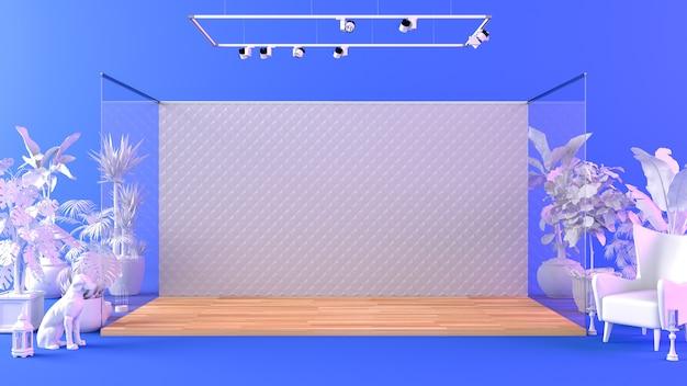 Bühnenplattform im studio mit dekorativen gegenständen und requisiten