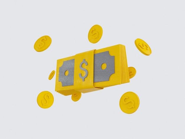 Bündel bargeld und schwimmende münzen stellen icons gelb auf grauem hintergrund 3d-darstellung rendern