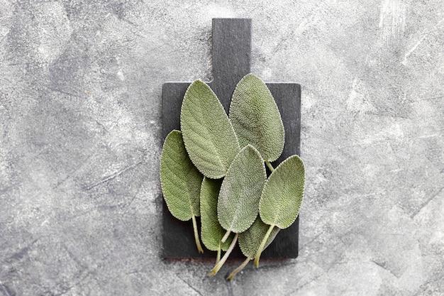 Bündel frische salbeiblätter auf dunkelgrauem hintergrund