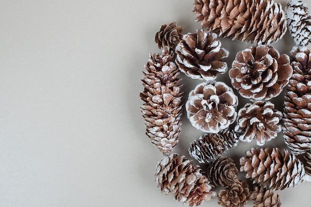 Bündel holztannenzapfen auf grauer oberfläche
