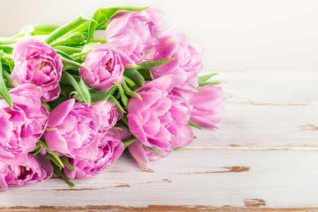 Bündel schöne purpurrote tulpen