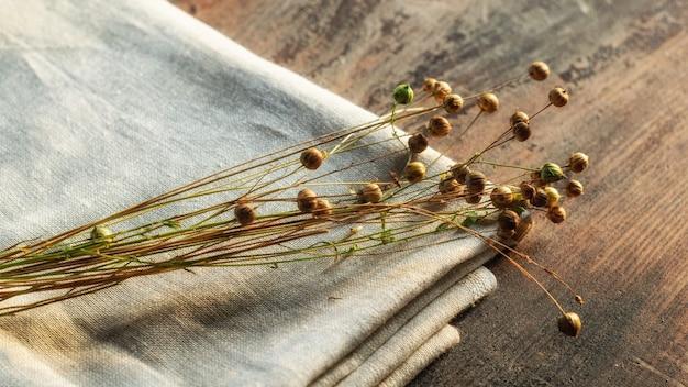 Bündel trockener flachspflanzen mit leinsamenkapseln auf leinentextil