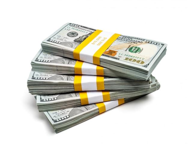 Bündel von 100 us-dollar banknoten der ausgabe 2013